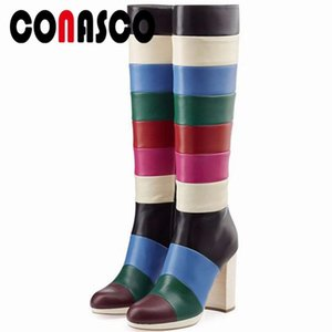 CONASCO 1Fashion Women Knee High Boots Round Toe Autumn Winter Warm High Heels Shoes Woman Party Prom Sexy Dancing Boots