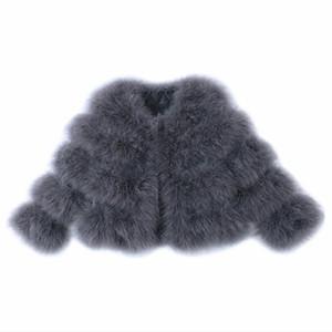 OFTBUY 2020 Yeni Moda Kış Ceket Kadınlar Gerçek Kürk Doğal Devekuşu Kürk Kalın Dış Giyim Streetwear Yüksek Kalite Isınma