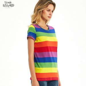 Rainbow T Shirt Women Black And White Striped Shirt Red And White Stripes Tees Short Sleeve Casual Tops