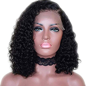 10-22Inch Curly Human Hair 13x6 Deep Part Lace Front Wig Nature Black Hair with Side Part Wigs (10Inch 150% Density