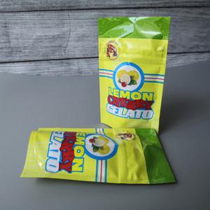 Lemon CHERRY GELATO bag Lemon CHERRY GELATO 3.5 mylar smell proof pouch zip lock airtight child proof for dry herb packaging