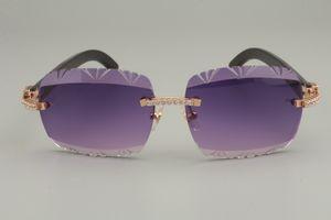 الجملة-- 19 المصنع مباشرة نقش عدسة ، الماس سلسلة منحوتة النظارات الشمسية 8300765 النقي القرن الأسود الطبيعي / القرن الأبيض النظارات الشمسية