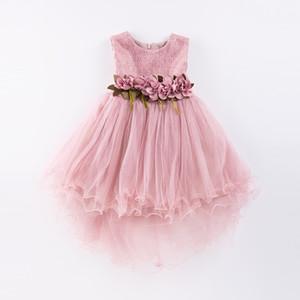Vestido de niña vestido de fiesta de boda de tul sirena 2019 Verano Princesa Vestidos Vestido de fiesta con flores Tamaño 4-9t Rosa Verde Y190516