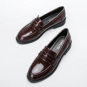 Real Oxford Shoes Mulheres de couro de Brown Flats britânica meninas de rua Shoes Ladies Derby Shoes Colégio Loafers Mulheres Moccasins Sólidos