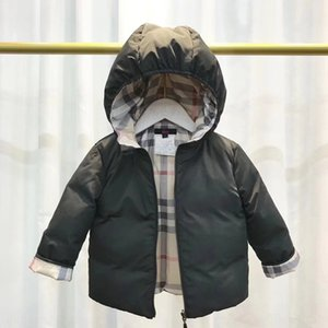 Children's Plaid striped jacket Bread down jacket hooded bread suit white duck down for boys and girls