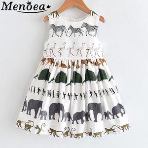Menoea Kız Yaz Elbise 2020 Çocuk Kolsuz Hayvanlar Baskılı Prenses Elbise Çocuk Avrupa Ve Amerikalı Stili
