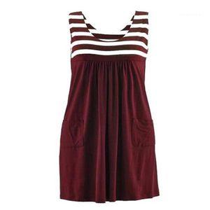 Sommer-Kleid-lose einfache ärmelloses Kleid Damenmode Damen Deisgner Art und Weise Striped Kleid plus Large Size