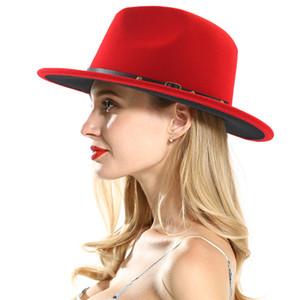 Feltro di lana Fedora Panama Lady delle donne Cappello di lana tesa larga casuale esterna della protezione di jazz 2 colori c1952