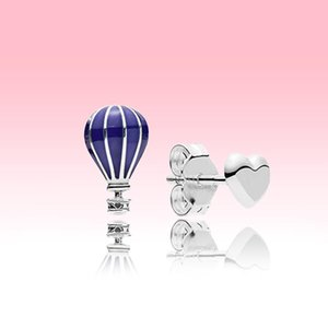 Blue balloon and Love Heart Stud Earrings Women 925 Sterling Silver Summer jewelry for Pandora Fashion Earring with Original logo box