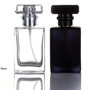 30ML flat square Clear Black Portable Glass Perfume Spray Bottles Empty Cosmetic Containers With Atomizer For Traveler YYA25