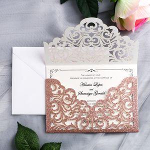 2020 Wunderschöne Rose Gold Glitter Laser-Schnitt-Einladungs-Karten für Hochzeit Bridal Shower Engagement Geburtstag Graduation Invites