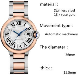 Erkekler ve kadınlar 36 mm'lik otomatik prim saatler için lüks rahat Ballon Bleu DE serisi moda saatler