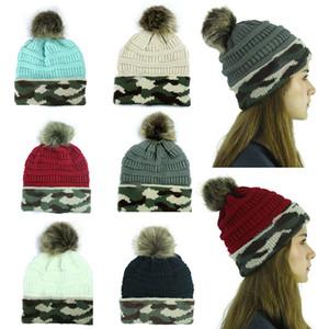 Moda Leisure Örme Cap Kadınlar Sonbahar Kış Kamuflaj Sıcak Yün Şapka ile Topu Şenlikli Doğum Noel Parti Şapkası WX9-1756