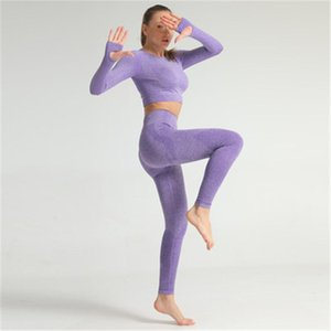 Женский жизненно важный бесшовные йоги трексуита моды Trend Fitness Leggings + подрезанные рубашки спортивные костюмы женщины с длинным рукавом тренажерный зал активное изнашивание 2 шт.