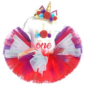 baby einhorn 1 geburtstag kleid party 1 jahr mädchen kleidung sets kinder kleidung strampler + stirnband + tutu flauschigen rock vestido unicornio Y190515