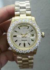 프롱 세트 다이아몬드 남성 손목 시계 골드 스테인레스 스틸 다이아몬드 다이얼 패션 자동 기계 큰 다이아몬드 시계 43MM 시계