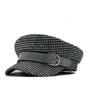 New Women Black Hats Autumn Winter Fashion Wool pearl Leather Patchwork Newsboy Caps With Belt Female Gorras