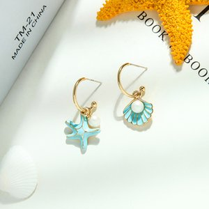 E021134 Fresh Enamel Glaze Earrings S925 Silver Pin All-match Pearl Earrings Sweet Starfish Shell Earrings