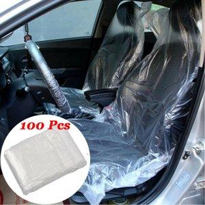 Universal 100pcs Oto Koltuk Kılıfı Su geçirmez Şeffaf PE Plastik Tek Tek Kullanımlık Koruyucu Kapak Car-stil Aksesuarları