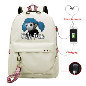 Backpacks Women Sally Back Face Pack Student Bookbags Reflective Bagpack Girls School Bag Laptop Knapsack Usb Charging Schoolbag