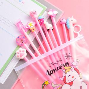 10шт / Set Gel Pen Pen Unicorn Симпатичные корейский Канцелярские Kawaii Школьные принадлежности гелевые для школы Канцелярские Подарки Pink Panther