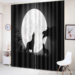 늑대 토템 3D 인쇄 배경 커튼 침실 거실 할로윈 창 장식 정전 창 Ligtht 그림자