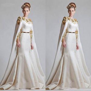 New Fancy soirée élégante robes en satin or sirène Appliques Robes de soirée Cape balayage train Arabie arabe Tenue de soirée