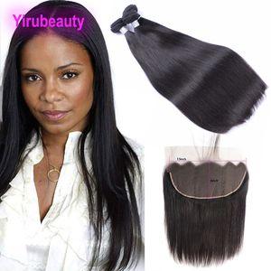 Индийские Сырые продукты Virgin Hair 8-30inch Straight 3 пачки с 13x6 Lace Фронтальная младенца Продукты для волос Natural Color Оптовая 4 шт