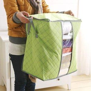حقائب الملابس التخزين أكياس شفافة لحاف التخزين المحمولة غير المنسوجة للطي زيبر صندوق تخزين عملي الرئيسية منظمة WY354Q