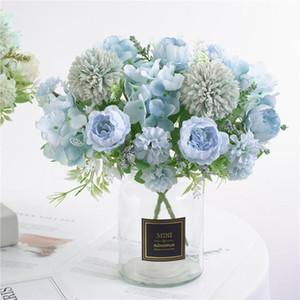 Buquê de casamento flor de seda Big Peony artifcial Decor Branco Peony Início exibição falsificação flor Pacote Pink Heart Rose # R5