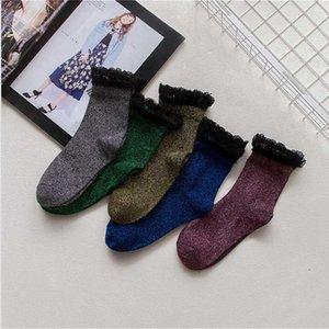 Hot Sale Fashion Shiny Glitter Socks Luxury Floral Edge Cotton Socks Winter Warm Women Lace Funny Cute Elegant