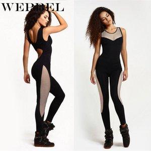 WEPBEL Entraînement sportif Jumpsuit Femmes Mesh Patchwork Stretchy Bodysuit Mode sexy manches Barboteuses Femmes Pantalons Jumpsuit