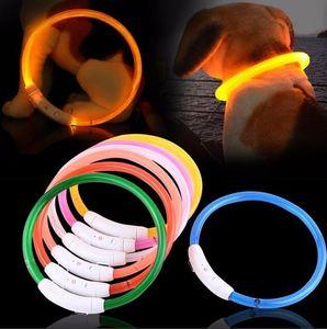 Coleira de cão LED impermeável luz se USB Collar recarregável Noite Segurança incandescência Pet Coleiras para Small Medium Large Dogs Pet Shop DHL