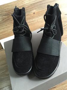 Kanye West 750 Boots Zapatos de diseño Zapatillas de deporte de cuero real para hombre Baloncesto Zapatillas de deporte transpirables Negro Marrón Luminoso Botas con caja