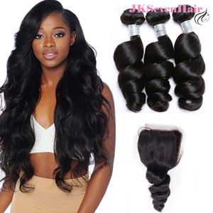 Unprocessed Virgin Brazilian Human Hair 3 Bundles With 4x4inch Lace Closure 12A Top Grade Indian Peruvian Malaysian Loose Wave Extension Weaves Wefts Jksevenhair
