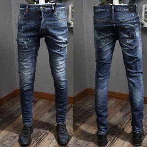 DD letra parche acento pre-dañado jeans ajustados efecto pintado pierna pantalones de algodón de mezclilla envejecida para hombre