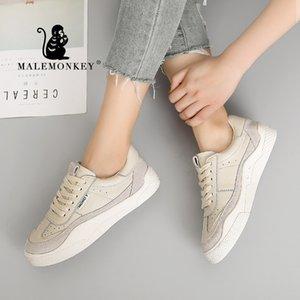 MALEMONKEY 831.645 donne Lace-Up signore casuali scarpe bianche 2020 Moda traspirante fondo piatto delle donne comode scarpe