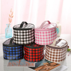Grid Makeup Cosmetic Zipper Handbag Fashion Travel Poratble Wash Bags Handbag Multi-Function Storage Bags 5styles RRA2056