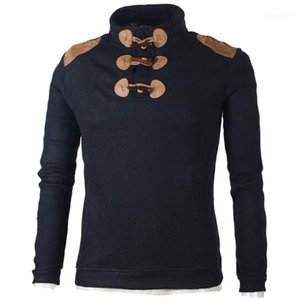 Stand Collar Mens Sweaters Casual Males Clothing Slim Mens Designer Sweaters Fashion Solid Color Horn Button