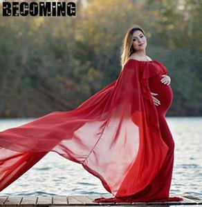 Материнство платье для беременных фото платье Фотография Реквизит Длинные платья беременных женщин Одежда Fancy Беременность Photo Shoot