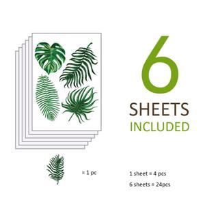 2018 Nova Moda 6 PCS Adesivo de Parede Quarto de Crianças Adesivo Em Folha de Palmeira Decoração Da Parede Auto-adesivo