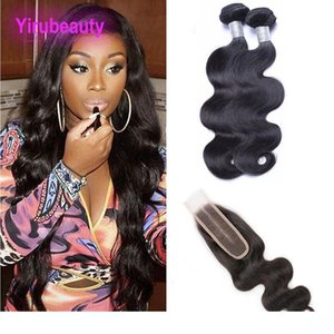 L Body Wave 2 Bundles With 2x6 Lace Closure With Baby Hair Indian Raw Virgin Hair Extensions Wefts With Closure Middle Part 8 -28inch