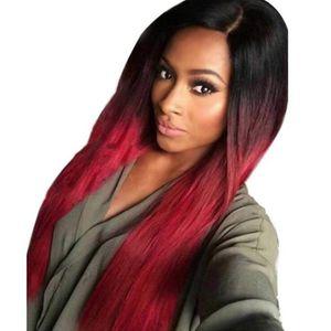 Stile caldo signore di modo americano europeo e parrucca rossa vino pendenza lungo rettilineo parrucca di capelli artificiali parrucca di seta a temperatura elevata