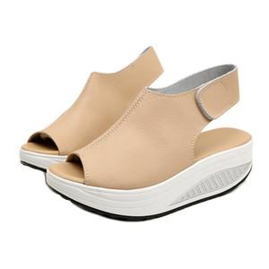 حار بيع صنادل الصيف النساء اهتز أحذية سميكة الأوتاد المنحدر منصة رئيس صنادل جلدية المرأة سميكة Higt أسفل أحذية الكعب. MQSS-013