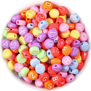 100pcs / set branco em acrílico de Ouro da letra do alfabeto Beads para o bracelete da jóia DIY Finding com furo Plástico redondo Beads Atacado