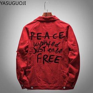 YASUGUOJI letra de la manera impresión rasgado Red Jacket Denim agujeros hombres Streetwear Casual Male Jeans gastados capa de la chaqueta del vaquero