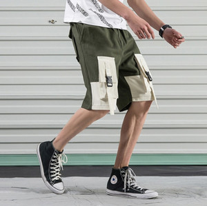 Vintage Casual Shorts Hommes Patchwork Cotton Summer Hip Hop Shorts Streetwear coréenne Fashion Cargo Shorts Hommes