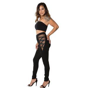 2 couleurs Femmes Jeans Sexy Coton Printemps Automne Mesh Bandage Hip Raise Pantalons Slim Fit Pantalons Crayon Skinny Pantalons longs vêtements creux