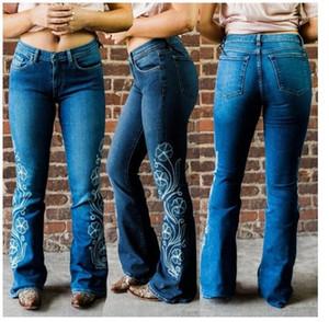 Jeans de dames de Pantalons Designer Femmes Broderie Flare Jeans d'été bleu clair maigre Washed Braguette à glissière