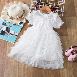 White Elegant Girl Wedding Dress Sequins Mesh Tutu Dress 3-8 Years Fairy Summer Puffy Dresses Kids Christening Costume for Girls